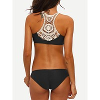 Crochet Racerback Ruched Bikini Set