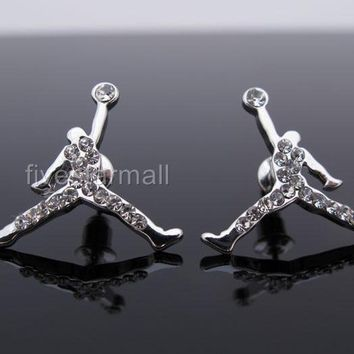 MICHAEL JORDAN JUMPMAN CZ STUD EARRINGS-SILVER COLOR/ GOLD COLOR/ GUNMETAL COLOR
