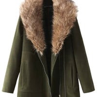 Army Green Lapel Zip Coat With Faux Fur Collar