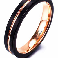 4mm Tungsten Ring Rose Gold Plated Inlay Groove Brushed Flat Cut Edge Wedding Band