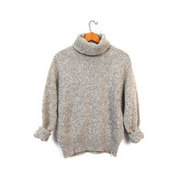 Speckled Wool Sweater Turtleneck 80s Pullover Oatmeal Knit Sweater Preppy Gray Cream Marled Wool Boho Prep Vintage Womens Medium Small