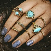 ac spbest 8Pcs/Set Boho Jewelry with Gold-Color Inlay Blue  Stone Finger Knuckle Midi Ring for Women Party