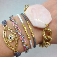 Pretty In Pink Stacked Bracelet Set