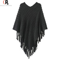 Choies Pullovers Cloak 2016 Autumn Knitted Asymmetric Tassel Loose Casual Poncho Cape Jumper Coat Top 4 Colors Kitted Sweater