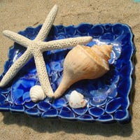 Blue Beach Stones Ceramic Dish with sapphire melted glass