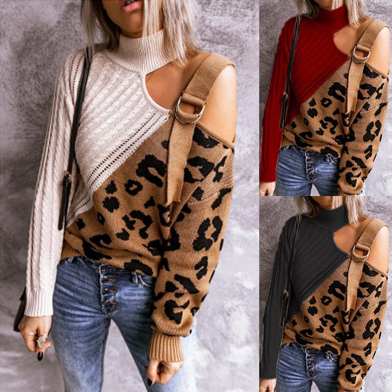 Image of High Collar Leopard Print Sweater