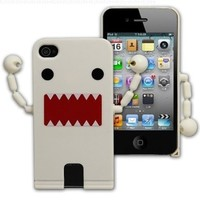 Cute Domo Kun Shape Hard Plastic Case For iPhone 4S / 4 - White ( With Movable Hands)