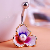 Illuminati Esmaltes Enemal Colar Pearl Beads Flowers Piercing Navel Belly Button Rings Body Piercing Violetta Gothic Accesorries