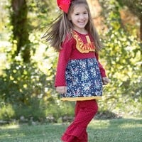 Fall Mixed Colorful Antlers Ruffle Pant Set