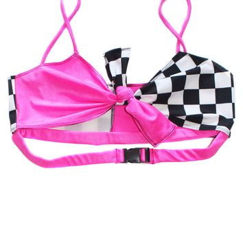 Neon Pink Checkered Tie Top
