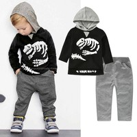 Kids Clothing Set Autumn Cotton Printing Dinosaur Skull Long-Sleeved Sports Hoodie Tops + Pants Suit For Baby Boys Clothes Bebes