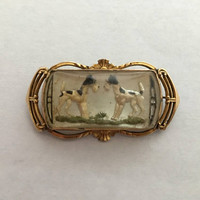 Antique Vintage Airedales under Glass, Signed Bar Pin on Mother of Pearl in Gold Filled Setting, PR. ST. CO.