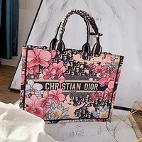 Dior Tide brand women's embroidery shopping bag handbag shoulder messenger bag