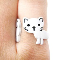 Adorable Kitty Cat Shaped Cartoon Animal Wrap Around Ring in White | DOTOLY