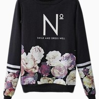 Black Long Sleeve Sweater w/ Floral Print & Fashion Quote #urban #edgy #streetstyle #love #want #need #wish #cute