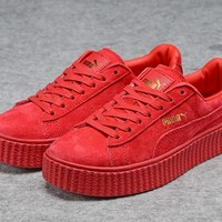 Fenty Rihanna Puma Creepers Red Men's Women's Suede Shoes