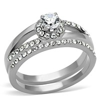 Pandora Rings TK971 Stainless Steel Ring with AAA Grade CZ