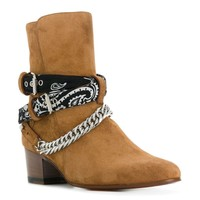 Ladies Camel Suede Chain and Black Bandana Boots by Amiri
