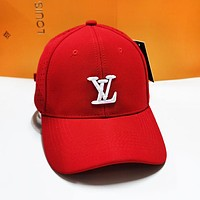 LV Louis Vuitton Fashion Women Men Embroidery Summer Sports Sun Hat Baseball Cap Hat Red