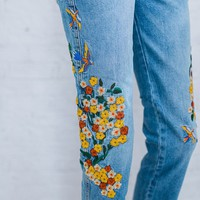 Embroidered Girlfriend Jean by Free People - cladandcloth