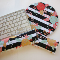 Mouse pad, keyboard rest, and mouse wrist rest set - black white stripes gold metallic flowers - coworker desk cubical office accessories