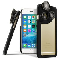 OPTIKAL iPhone 6 4-in-1 Lens Duo Camera Case [Macro, Telephoto, Wide Angle, Fisheye] BLACK for iPhone 6s and 6