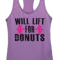 Womens WILL LIFT FOR DONUTS Grapahic Design Fitted Tank Top