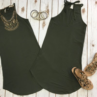 Tied to You Tunic Dress: Olive