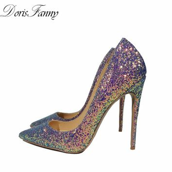 DorisFanny bling bling wedding shoes Gradient high heel pumps very sexy stiletto heels party shoes for women free shipping