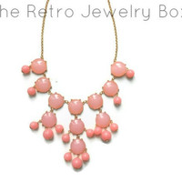ready to ship pink Bubble j crew inspired bib statement necklace couture wedding christmas