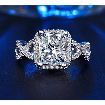 White Gold Plated Baguette CZ Crystal Wedding Ring