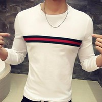 Slim Fit Striped O Neck Long Sleeve Casual Tee