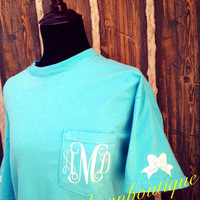Comfort Colors Monogrammed Pocket T-Shirt with Bows