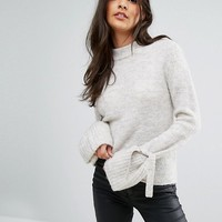 Vero Moda Tie Sleeve Sweater at asos.com
