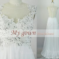 2014 Prom Dress,Straps Lace Beads Chiffon White Prom Dress, Wedding Dress, Evening Gown,Formal Dresses,Evening Dress,formal