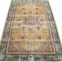 Sale Yellow Color Turkish Vintage Rug With Chinese design 6'3'' x 4'0'' Free Shipping