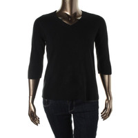 Karen Scott Womens Petites Knit V-Neck Pullover Sweater