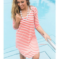 Follow Your Heart Coral Striped V-Neck Long Sleeve Dress