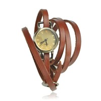 ZLYC Women's Vintage Style Multi Wraps Thin Leather Belt Watch Brown