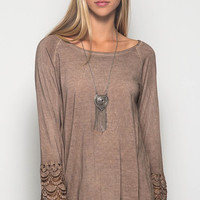Long Lace Bell Sleeve Acid Washed Top - Mocha