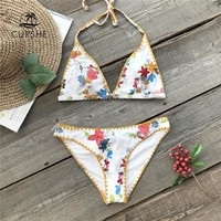 CUPSHE Flora Print Halter Bikini Set Women Sexy Backless Overlock Two Pieces Swimwear 2018 Girl Beach Bathing Suit Swimsuits