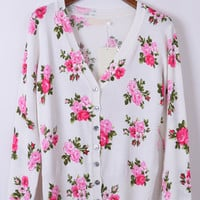 Floral V Neck Button-up Long Sleeve Cover-up