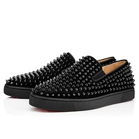 Sale Christian Louboutin Cl Roller-boat Men's Flat Black/black/bk Suede 12s Shoes 1120387b049