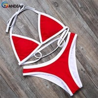 BANDEA bikini brand sexy swimwear women high cut swimsuit brazilian bottom bathing suit solid swimming suit for women HA500