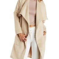Tan Wool Blend Trench Coat by Charlotte Russe
