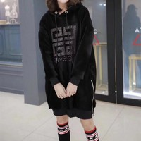 """""""Givenchy"""" Women Casual Fashion Velvet Logo Letter Long Sleeve Medium Long Section Thickened Hooded Sweater Dress"""