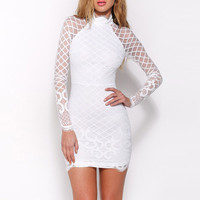 Princess Zippers White Long Sleeve One Piece Dress = 4804243204