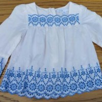 Baby Gap 6-12m Blue & White BOHO Eyelet Embroidery Infant Dress Tunic Top
