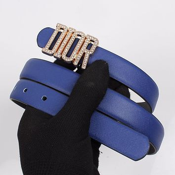 DIOR Fashion Women New Diamond Letter Personality Belt Blue
