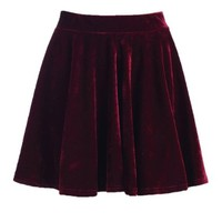 Romwe Women's Velvet Skirt-Wine Red-L